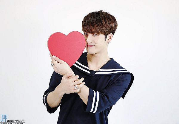 Tags: K-Pop, Got7, Jackson, Light Background, White Background, Blue Outfit, Ring, Collar (Clothes), Heart, Sailor Collar