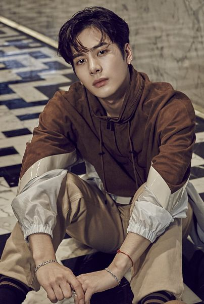 Tags: K-Pop, Got7, Jackson, Sitting, Brown Pants, Striped Legwear, Earrings, Striped, Sitting On Ground, Bracelet, Brown Shirt, Bent Knees