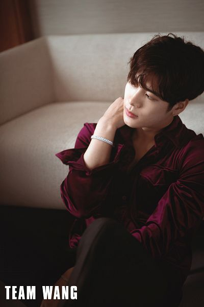Tags: K-Pop, Got7, Jackson, Red Shirt, Serious, Looking Away, Couch, Bracelet
