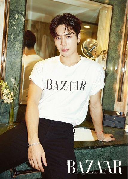 Tags: K-Pop, Got7, Jackson, Short Sleeves, Serious, Arm Support, Text: Magazine Name, Black Pants, Bathroom, Bracelet, Sink, Magazine Scan