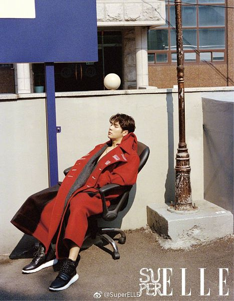 Tags: K-Pop, Got7, Jackson, Chair, Serious, Hand In Pocket, Text: Magazine Name, Sleeping, Armchair, Sitting On Chair, Red Outerwear, Eyes Closed
