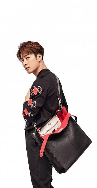 Tags: K-Pop, Got7, Jackson, Bag, Light Background, Black Shirt, White Background, Serious, Black Pants, Pants, Fendi