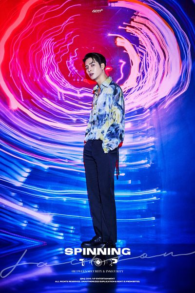 Tags: K-Pop, Got7, Jackson, Serious, English Text, Full Body, Hand In Pocket, Text: Artist Name, Blue Pants, Text: Album Name, Spinning Top: Between Security and Insecurity