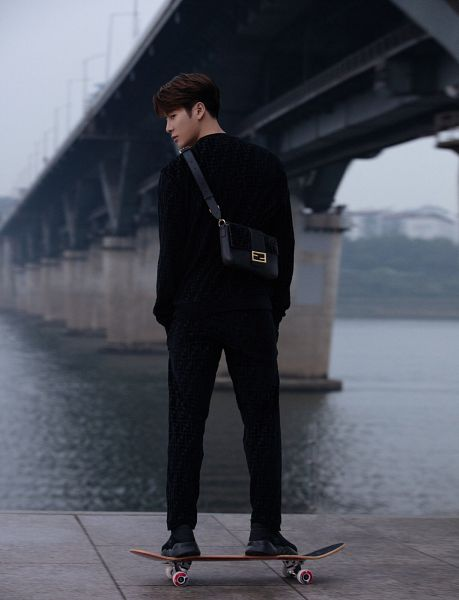 Tags: K-Pop, Got7, Jackson, Serious, Bag, Water, River, Back, Black Pants, Bridge, Skateboard, Fendi