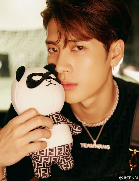 Tags: K-Pop, Got7, Jackson, Brown Shirt, Stuffed Toy, Toy, Serious, Necklace, Fendi