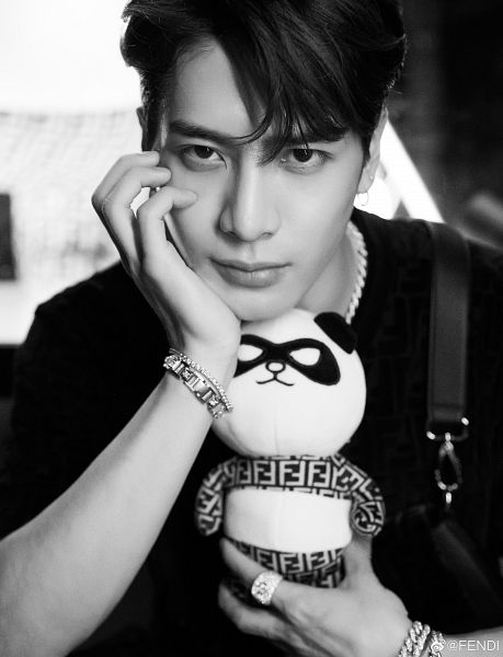 Tags: K-Pop, Got7, Jackson, Necklace, Toy, Bracelet, Serious, Hand On Cheek, Hand On Head, Ring, Arm Support, Monochrome