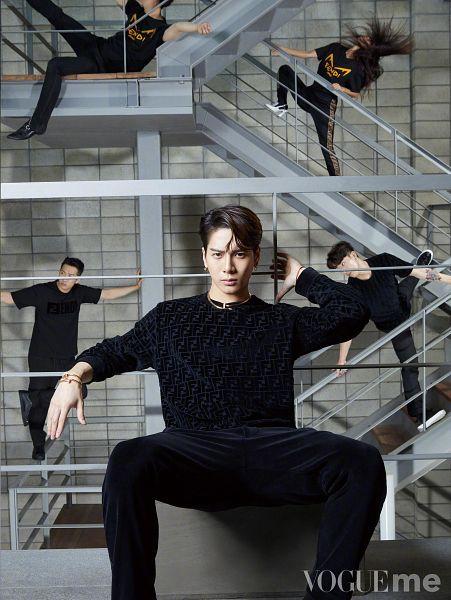 Tags: K-Pop, Got7, Jackson, Stairs, Group, Bracelet, Serious, Black Pants, VOGUEme, Fendi, Magazine Scan