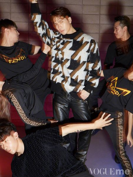 Tags: K-Pop, Got7, Jackson, One Arm Up, Black Pants, Leather Pants, Serious, Hand In Pocket, Group, Fendi, Magazine Scan, VOGUEme