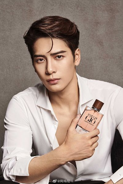 Tags: K-Pop, Got7, Jackson, Perfume Bottle, Open Shirt, Bottle, Brown Background, Serious, Giorgio Armani