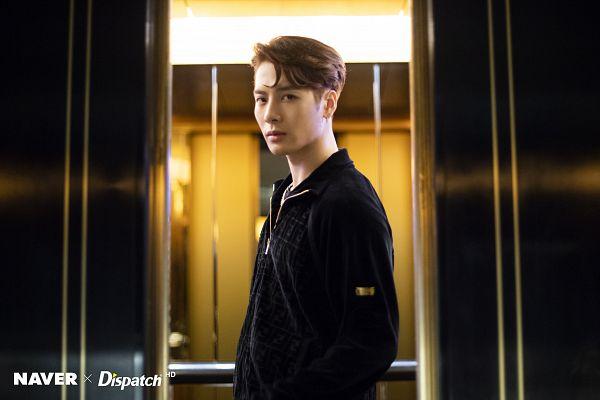 Tags: K-Pop, Got7, Jackson, Serious, Necklace, Elevator, Jumpsuit, Black Shirt, Dispatch