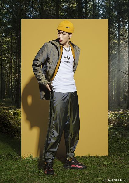Tags: K-Pop, Got7, Jackson, Necklace, Looking Back, Jumpsuit, Hat, Hood, Serious, Tree, Hoodie, Plant