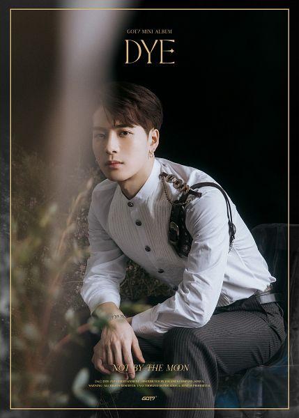 Tags: K-Pop, Got7, Jackson, Text: Album Name, English Text, Text: Song Title, Belt, Bracelet, Text: Artist Name, Black Pants, Dye
