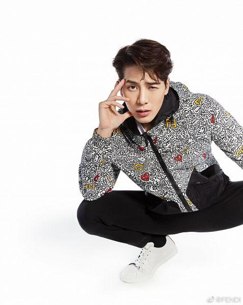 Tags: K-Pop, Got7, Jackson, Hoodie, Black Pants, Serious, Hand On Cheek, Hand On Head, Sneakers, Shoes, Crouching, Hood