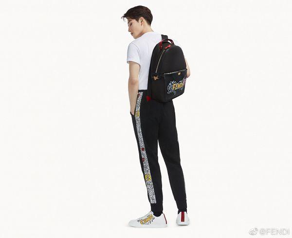 Tags: K-Pop, Got7, Jackson, Black Pants, Serious, Backpack, Short Sleeves, Light Background, Back, White Background, Sneakers, Hand In Pocket
