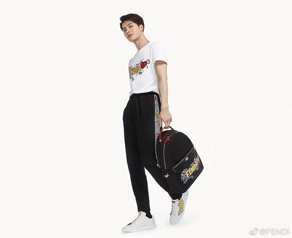 Tags: K-Pop, Got7, Jackson, Black Pants, Light Background, Bag, White Background, Short Sleeves, Backpack, Fendi