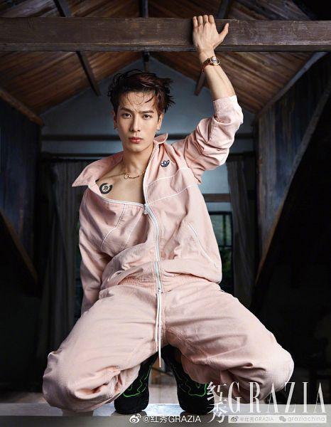 Tags: K-Pop, Got7, Jackson, Kneeling, Jumpsuit, Bracelet, Pink Pants, Pink Shirt, Serious, One Arm Up, Tattoo, Magazine Scan