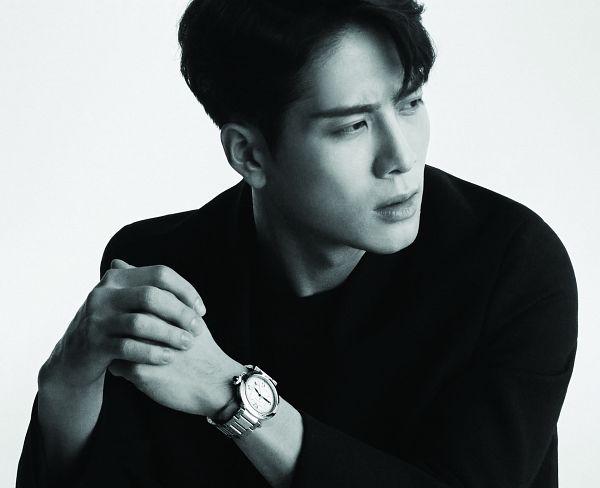 Tags: K-Pop, Got7, Jackson, Monochrome, Black Outerwear, Watch, Serious, Wristwatch, Black Jacket, Looking Away, Cartier
