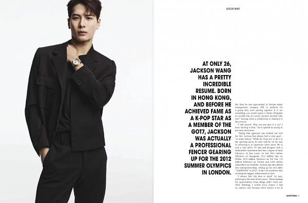 Tags: K-Pop, Got7, Jackson, Black Pants, Hand In Pocket, Black Jacket, English Text, Black Outerwear, Hand On Shoulder, Light Background, White Background, Serious