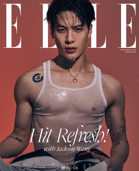 Tags: K-Pop, Got7, Jackson, Tank Top, Sleeveless Shirt, Tattoo, Red Background, Suggestive, English Text, Bare Shoulders, Nipples, Sleeveless
