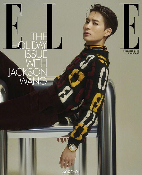 Tags: K-Pop, Got7, Jackson, Gray Background, Serious, English Text, Magazine Cover, Elle Singapore, Magazine Scan, Scan