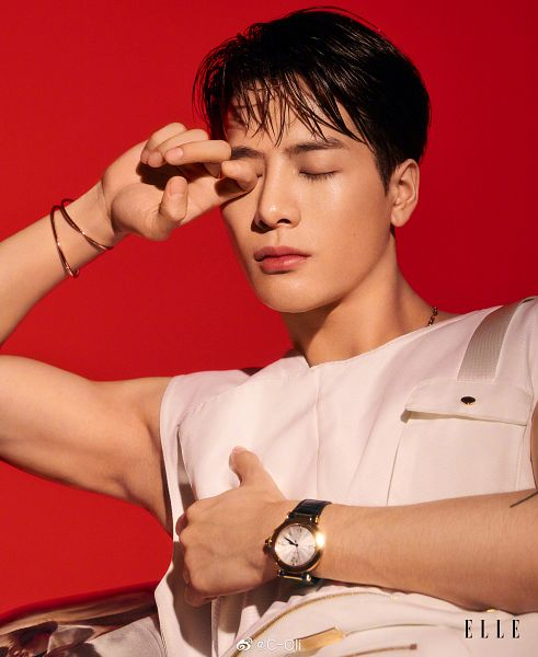 Tags: K-Pop, Got7, Jackson, Eyes Closed, Sleeveless Shirt, Sleeveless, Bracelet, Bare Shoulders, Tank Top, Serious, Red Background, Magazine Scan
