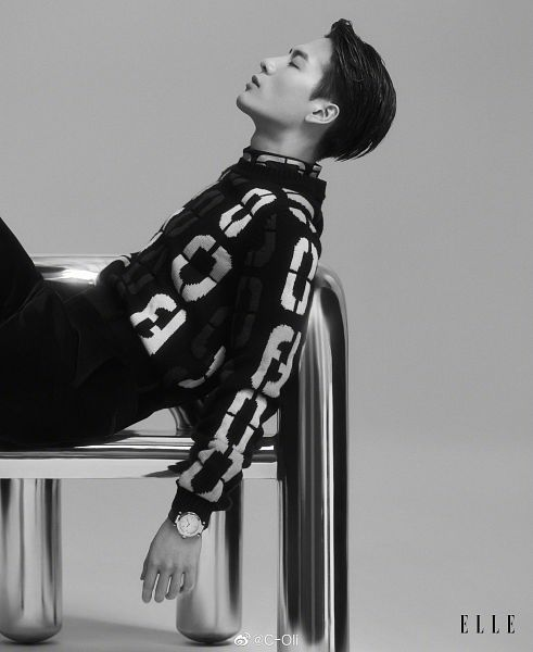 Tags: K-Pop, Got7, Jackson, Looking Up, Serious, Side View, Monochrome, Elle Singapore, Magazine Scan