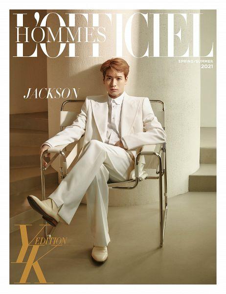 Tags: K-Pop, Got7, Jackson, Suit, Text: Magazine Name, Column, English Text, Serious, Chair, Sitting On Chair, White Jacket, White Outerwear