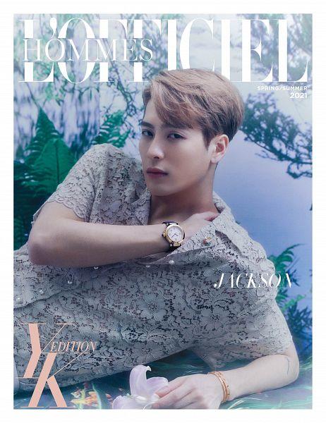 Tags: K-Pop, Got7, Jackson, Bracelet, Serious, Hand On Shoulder, Plant, Short Sleeves, Text: Magazine Name, Text: Artist Name, English Text, L'Officiel Hommes