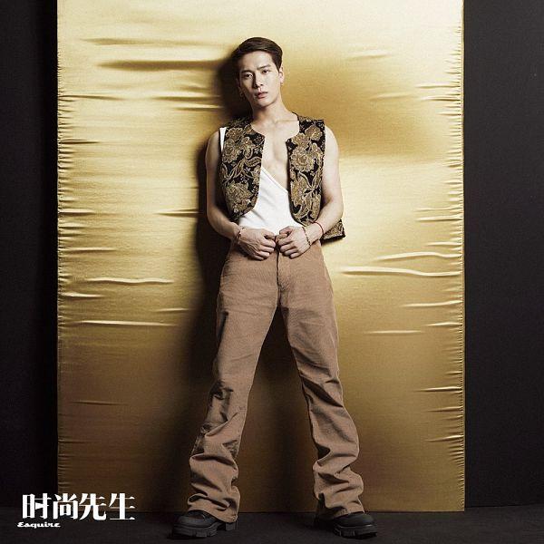Tags: K-Pop, Got7, Jackson, Tank Top, Brown Pants, Sleeveless, Sleeveless Shirt, Bracelet, Bare Shoulders, Serious, Esquire China, Magazine Scan