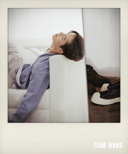 Tags: K-Pop, Got7, Jackson, Purple Shirt, Laying Down, Eyes Closed, White Pants