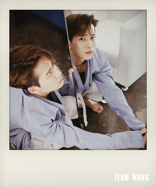 Tags: K-Pop, Got7, Jackson, Crouching, Barefoot, Glass, Mirror, Purple Shirt, Chair, Serious, White Pants, Reflection