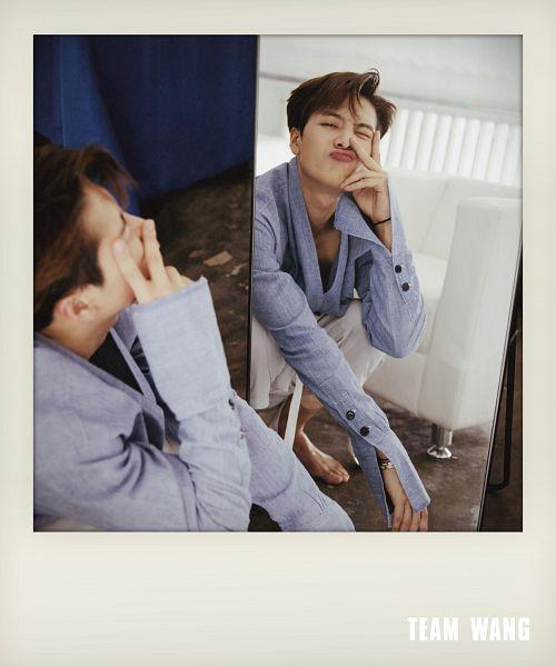 Tags: K-Pop, Got7, Jackson, V Gesture, Pouting, White Pants, Purple Shirt, Crouching, Barefoot