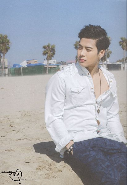 Tags: K-Pop, Got7, Jackson, Palm Tree, Beach, Serious, Blue Pants, Necklace, Tree, Sand, Outdoors, Hand In Pocket