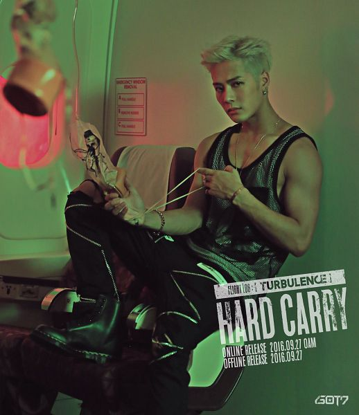 Tags: K-Pop, Got7, Jackson, Necklace, Bare Shoulders, Tank Top, Bracelet, Plane, English Text, Boots, Text: Song Title, Text: Artist Name