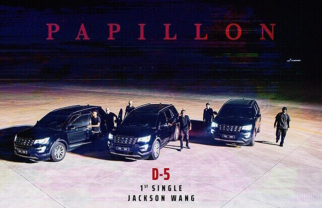 Tags: K-Pop, Got7, Papillon, Jackson, Hat, Text: Artist Name, Text: Song Title, Car, Group
