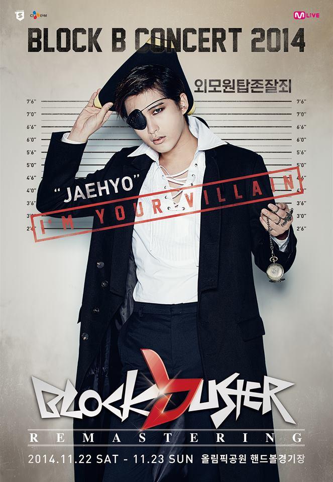 Tags: K-Pop, Block B, Jaehyo, Black Headwear, Holding Object, Text: Artist Name, Mask, 2014 Block B Concert Blockbuster Remastering, Black Pants, Black Outerwear, Korean Text, Text: Calendar Date