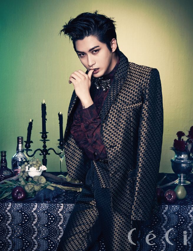 Tags: K-Pop, Block B, Jaehyo, Multi-colored Background, Table, Pear, Finger To Lips, Fruits, Apple, Candle, Bottle, Suit