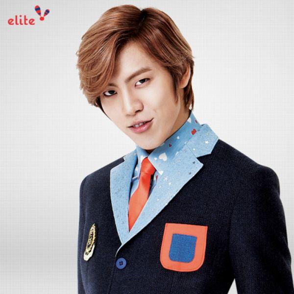 Tags: K-Pop, Infinite, Jang Dong-woo, Text: Brand Name, Black Jacket, Grin, Gray Background, School Uniform, Red Neckwear, Blue Shirt, Tie, Elite