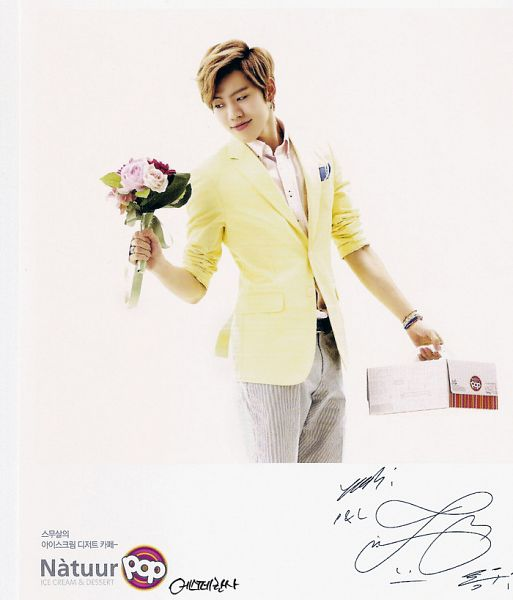 Tags: K-Pop, Infinite, Jang Dong-woo, Gray Pants, Looking Away, Eyes Half Closed, Holding Object, Bouquet, Bracelet, Looking Down, Signature, Light Background
