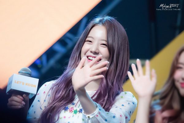 Tags: K-Pop, fromis 9, Jang Gyuri, Wave, Eyes Half Closed, Purple Hair, Fansite Request