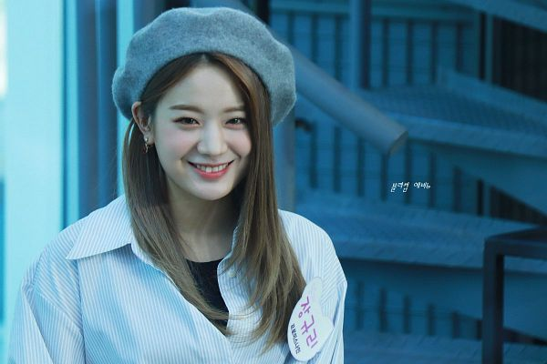Tags: K-Pop, fromis 9, Jang Gyuri, Text: Artist Name, Hat, Striped, Korean Text, Gray Headwear, Striped Shirt, Fansite Request