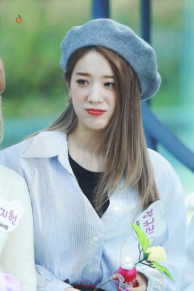 Tags: K-Pop, fromis 9, Jang Gyuri, Hat, Gray Headwear, Rose (flower), Flower, Text: Artist Name, Striped, Striped Shirt, Korean Text, Looking Away