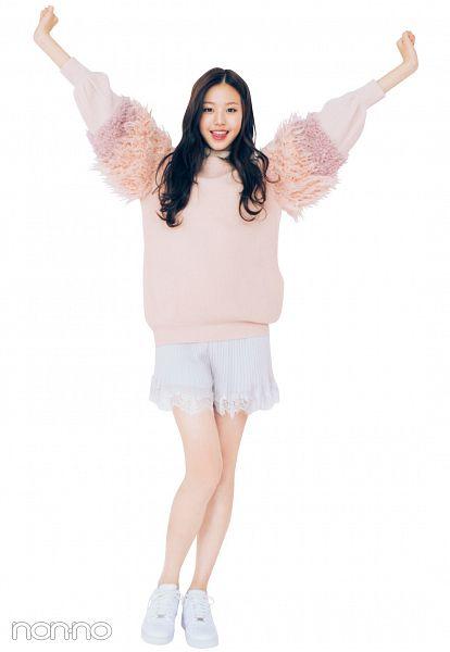 Tags: K-Pop, IZ*ONE, Jang Wonyoung, Black Eyes, Wavy Hair, White Footwear, Shorts, White Shorts, Light Background, Pink Shirt, White Background, Arms Up