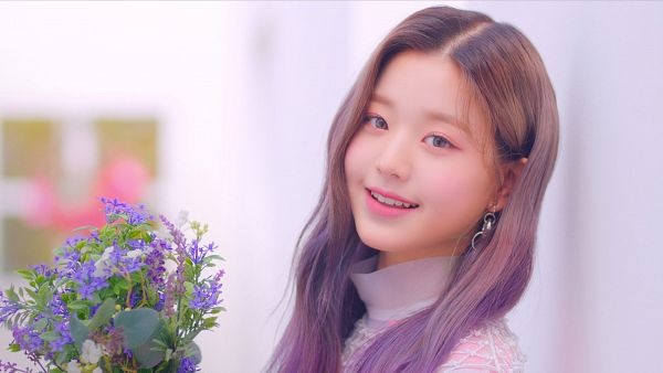 Tags: K-Pop, IZ*ONE, Jang Wonyoung, Text: Artist Name, Text: Album Name, Flower, Bouquet, Purple Flower, Make Up, Contact Lenses, Blush (Make Up)