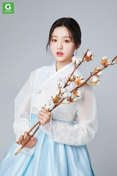 Tags: K-Pop, IZ*ONE, Jang Wonyoung, Gray Background, White Flower, Hanbok, Blue Skirt, Cotton, Traditional Clothes, Skirt, Korean Clothes, Flower