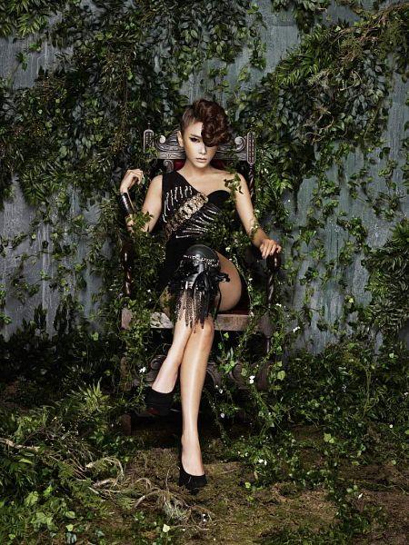 Tags: K-Pop, Brown Eyed Girls, Jea, Sitting On Chair, Bare Legs, Sleeveless, Black Footwear, Black Outfit, Shoes, Crossed Legs, Hair Up, Black Dress