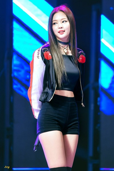 Tags: K-Pop, Black Pink, Jennie Kim, Black Footwear, Shorts, Arms Behind Back, Black Shorts, Necklace, Black Outerwear, Knee Boots, Bare Legs, Midriff