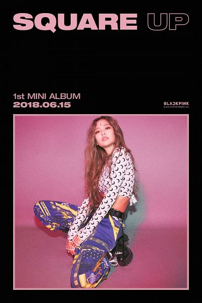 Tags: K-Pop, Black Pink, Jennie Kim, Midriff, Text: Artist Name, English Text, Text: Album Name, Kneeling, Text: Company Name, Black Footwear, Wavy Hair, Text: Calendar Date