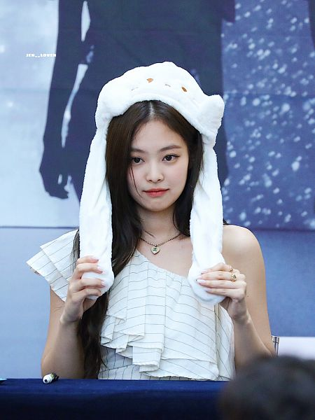 Tags: K-Pop, Black Pink, Jennie Kim, Table, Striped, Sitting On Chair, Necklace, White Headwear, Striped Shirt, Hat, Holding Object, Animal Hat