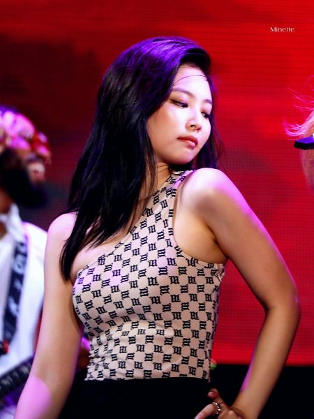 Tags: K-Pop, Black Pink, Jennie Kim, Skirt, Black Skirt, Bare Shoulders, Ring, Brown Shirt, Side View, Looking Down, Hand On Hip